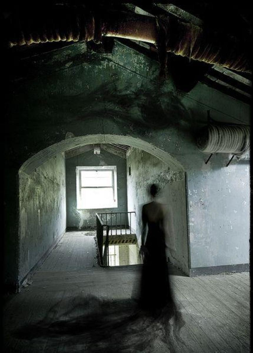 Shadow Person In Attic Of Old Closed Down Nursing Home