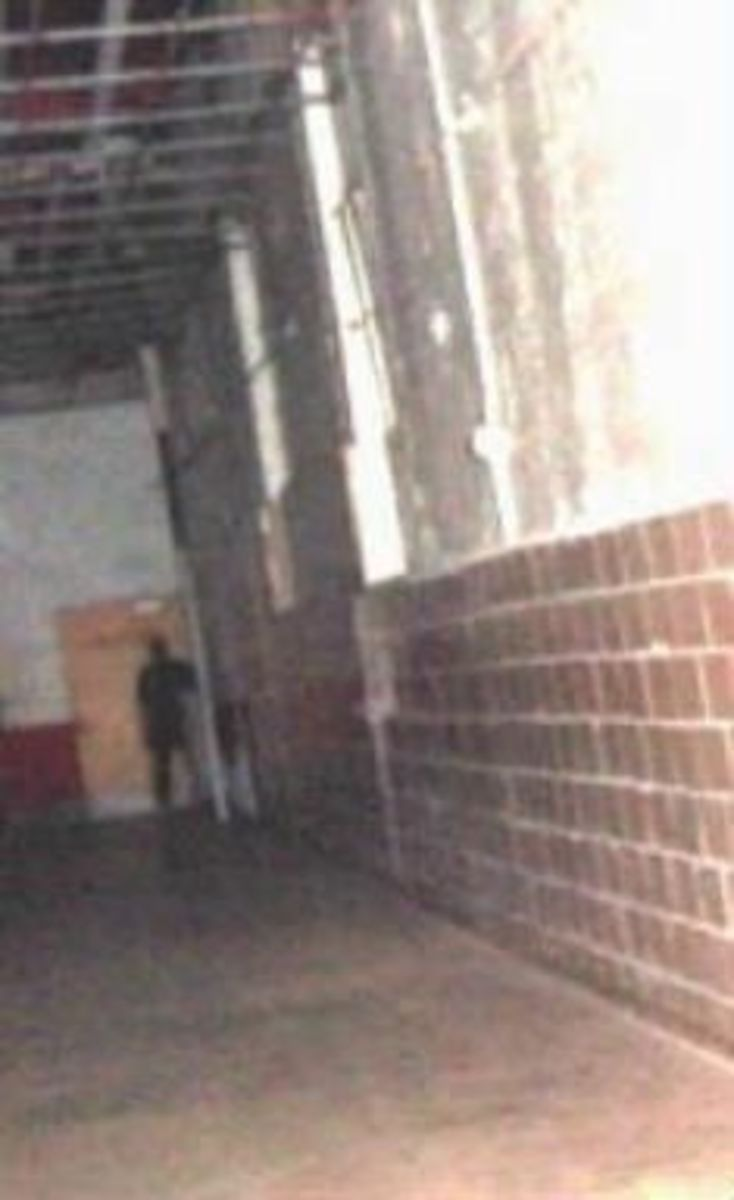 Moundsville prison, West Virginia. This eerie location dates from 1866 and was the home to many dangerous and dark elements of society, including Charles Manson. Murders, suicides, violence, and executions all happened here. Notice the shadow person.