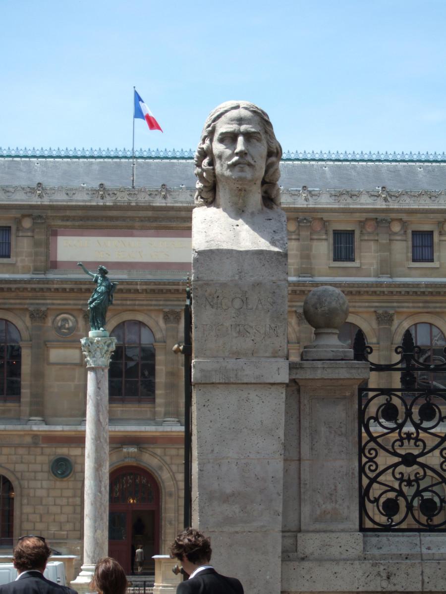 Entrance to the École nationale supérieure des Beaux-Arts (ENSBA), Paris. The bust is of Nicolas Poussin (1594-1665), leading painter of French Baroque