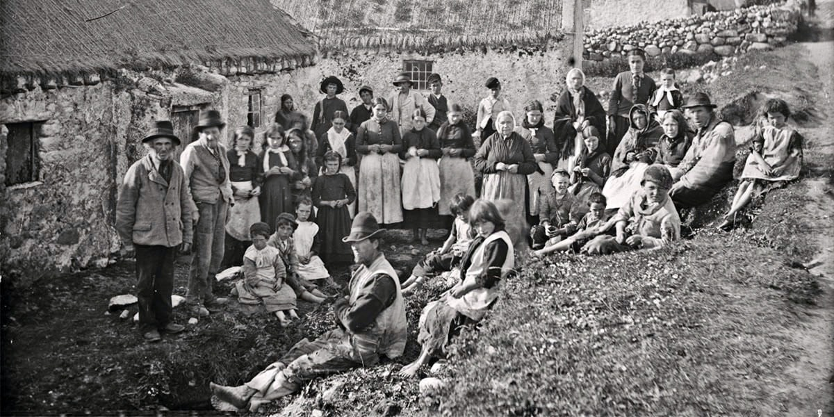 Itinerant workers with no work or food during the Irish potato famine of the 19th century.