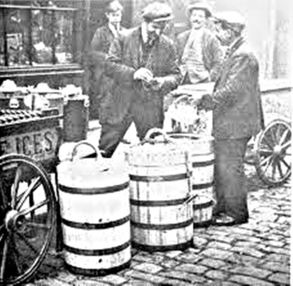 Selling ice cream in the streets from barrels on a cart.