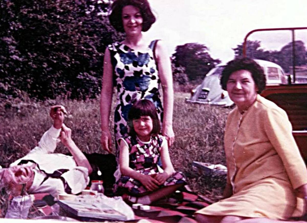 My cousin Lesley Lawson (nee Trigg) as a child with her mum - my Auntie Anne - and Anne's parents.
