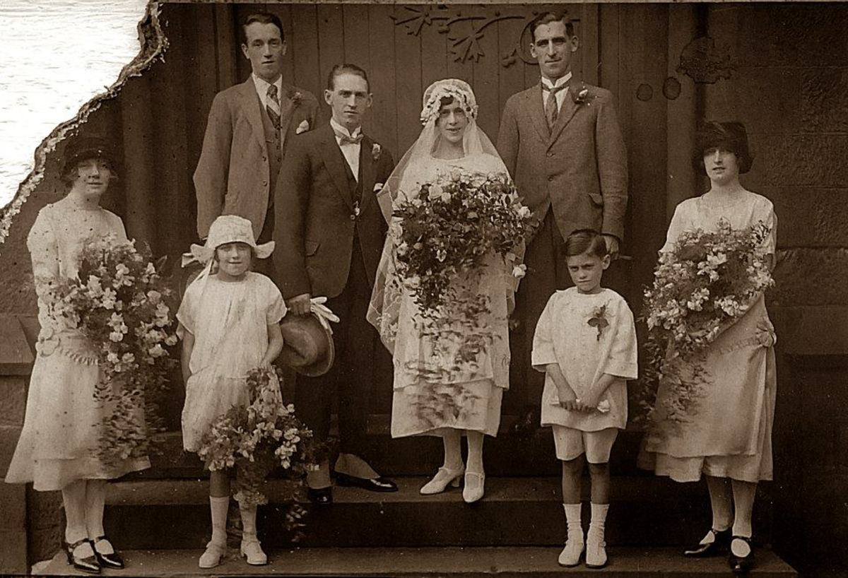Here is mum's brother, my Uncle Ken Trigg, as a young boy in the 1930s - again a pageboy at a family wedding. It was the wedding of my grandad Frank Trigg's sister Mary to Mr Copley. Behind the bride is grandad's brother Arthur.