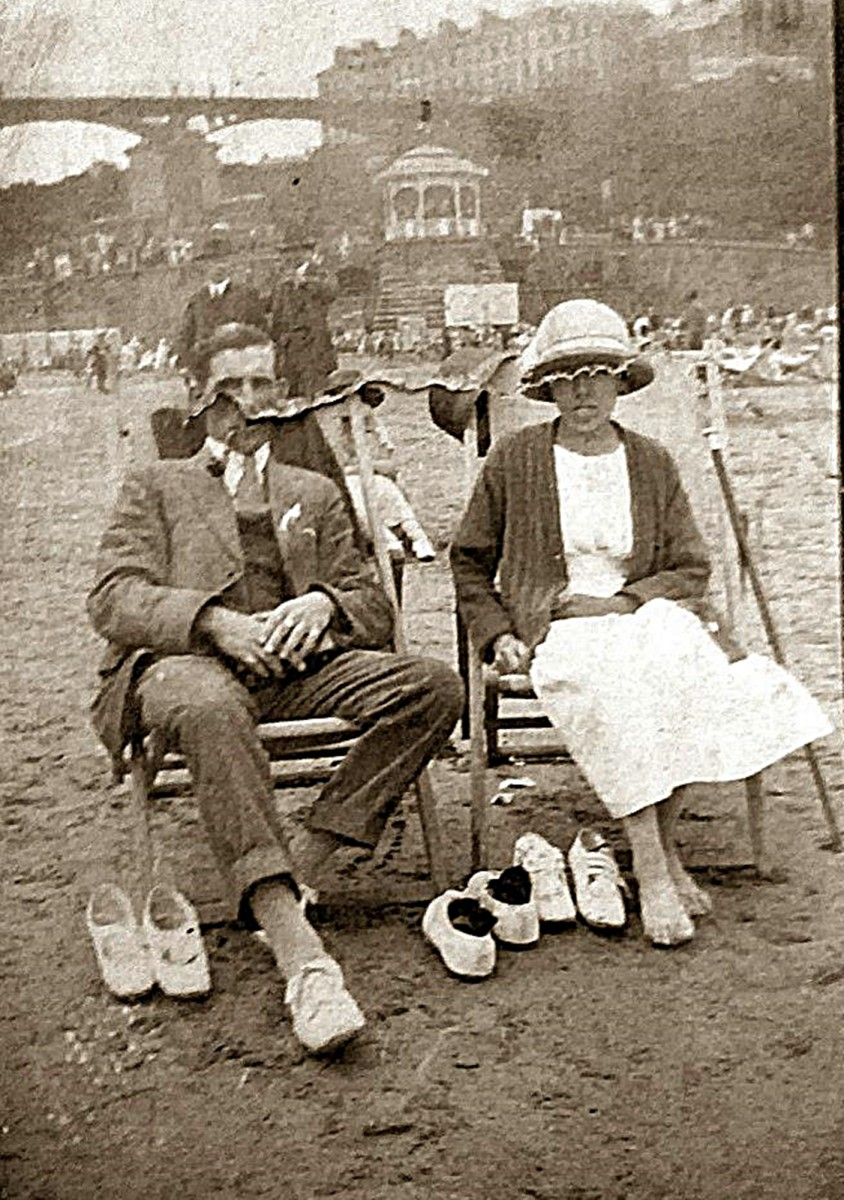 Arthur and Elsie again relaxing on the beach. Arthur, like my grandad, was always smoking a pipe.