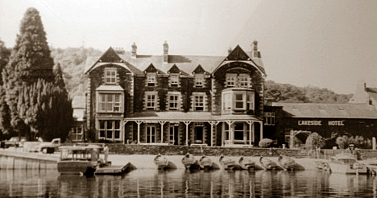 The Lake District was a popular visitor destination in the 1930s. Pictured is the Lakeside Hotel overlooking Lake Windermere.