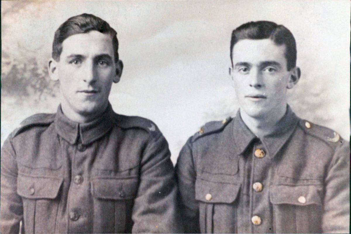 Grandad's brothers during World War One: Arthur on the left with Bob - the only two brothers who were old enough to serve in the Great War. Bob survived a poison gas attack and returned safely home.