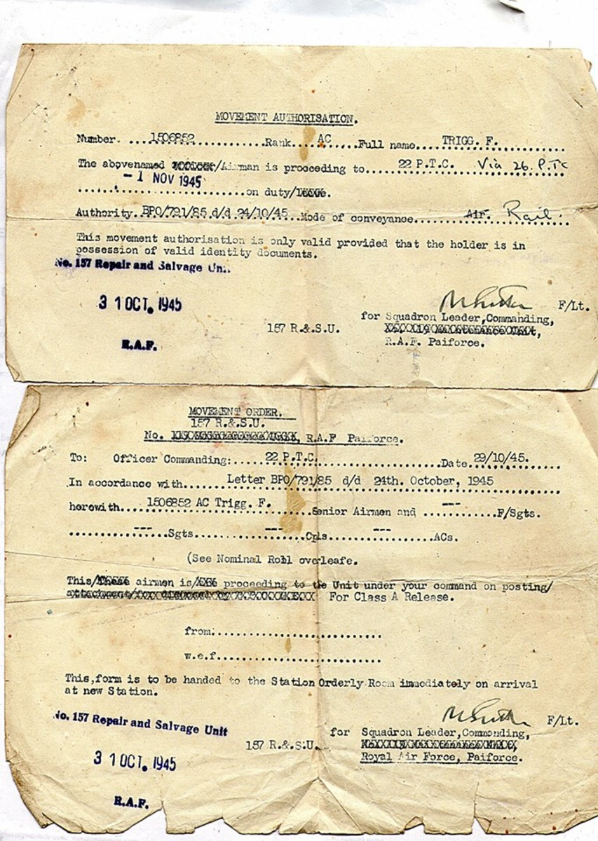 Grandad's discharge papers when he returned to the UK after World War Two.