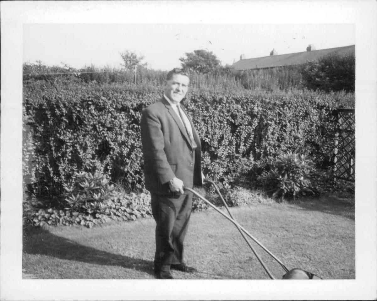 Grandad enjoying the sunshine in the garden.