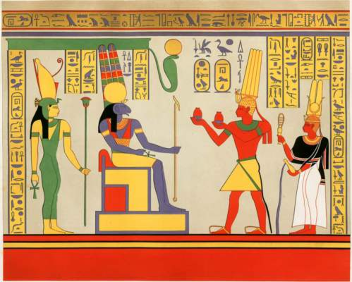 Pharaoh Taharqa and Queen Takahatamun giving sacrifice to Amun-Ra and Mut