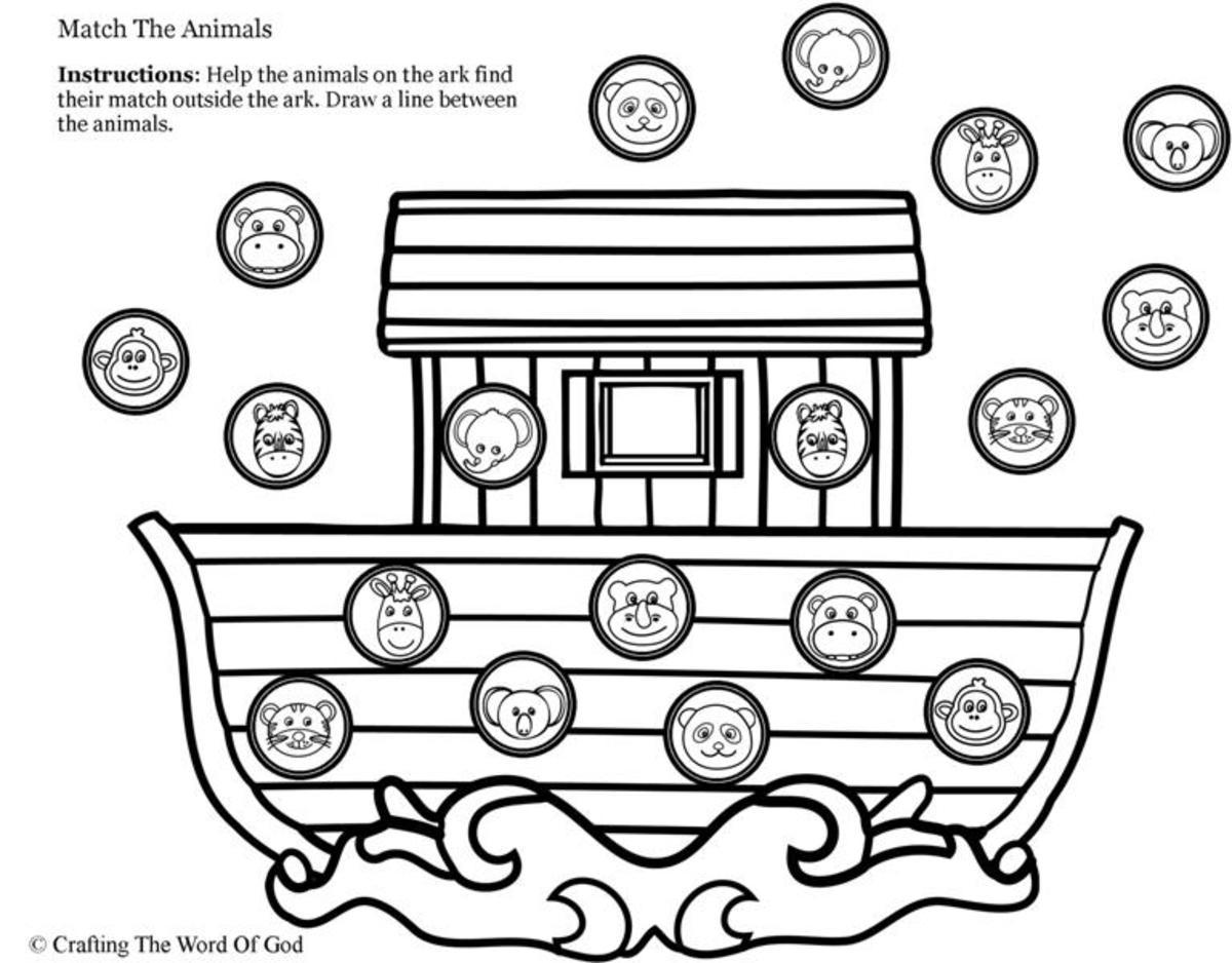 Noahs Ark Animal Match- Activity Sheet