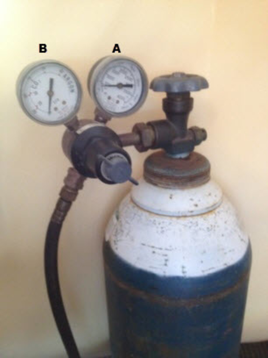 A: Pressure gauge. B: Gas flow.