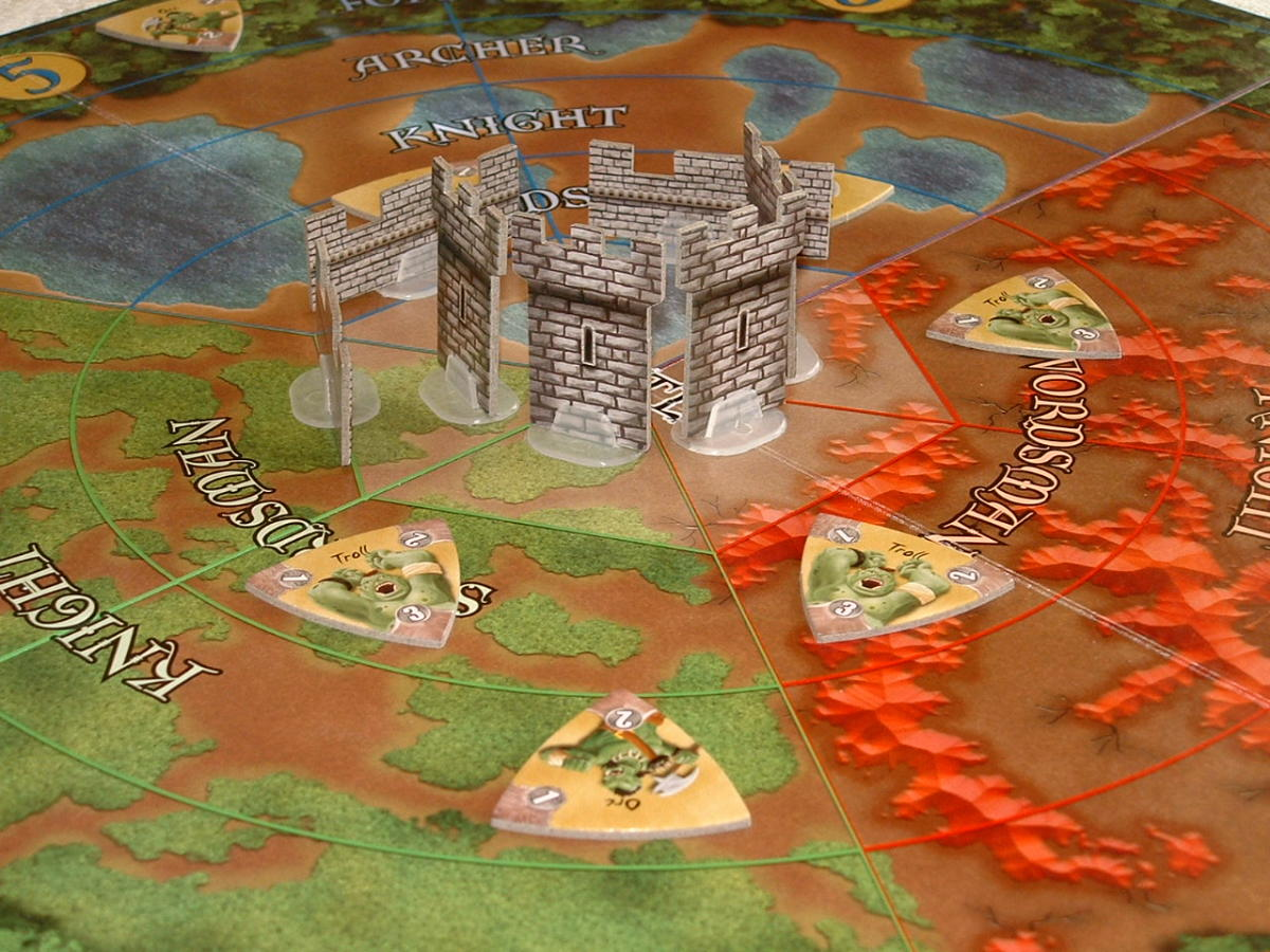 A close-up of the game board
