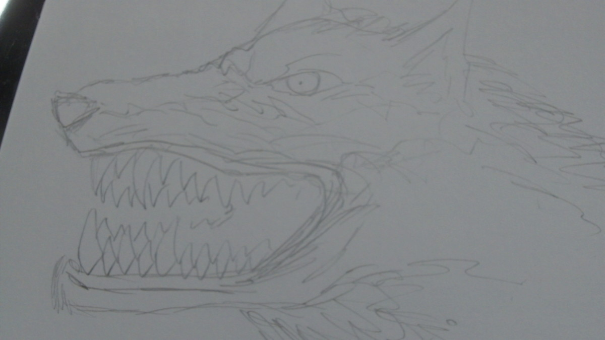 Pencil shading around the mouth.