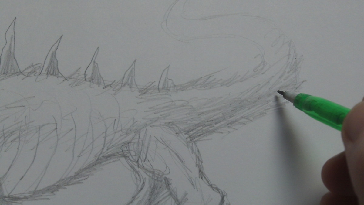 Fur pencil sketching on the tail.
