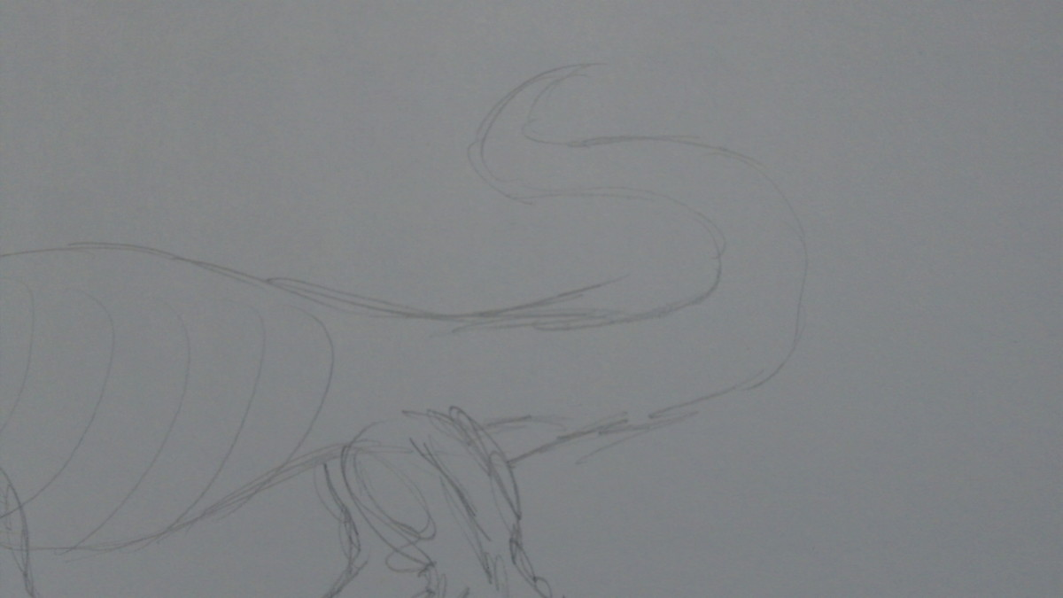 Sketch a rough looking tail. I want something evil on the end of the tail.
