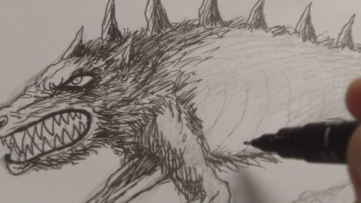 Ink more fur around the top half of the Demon Dogs body.