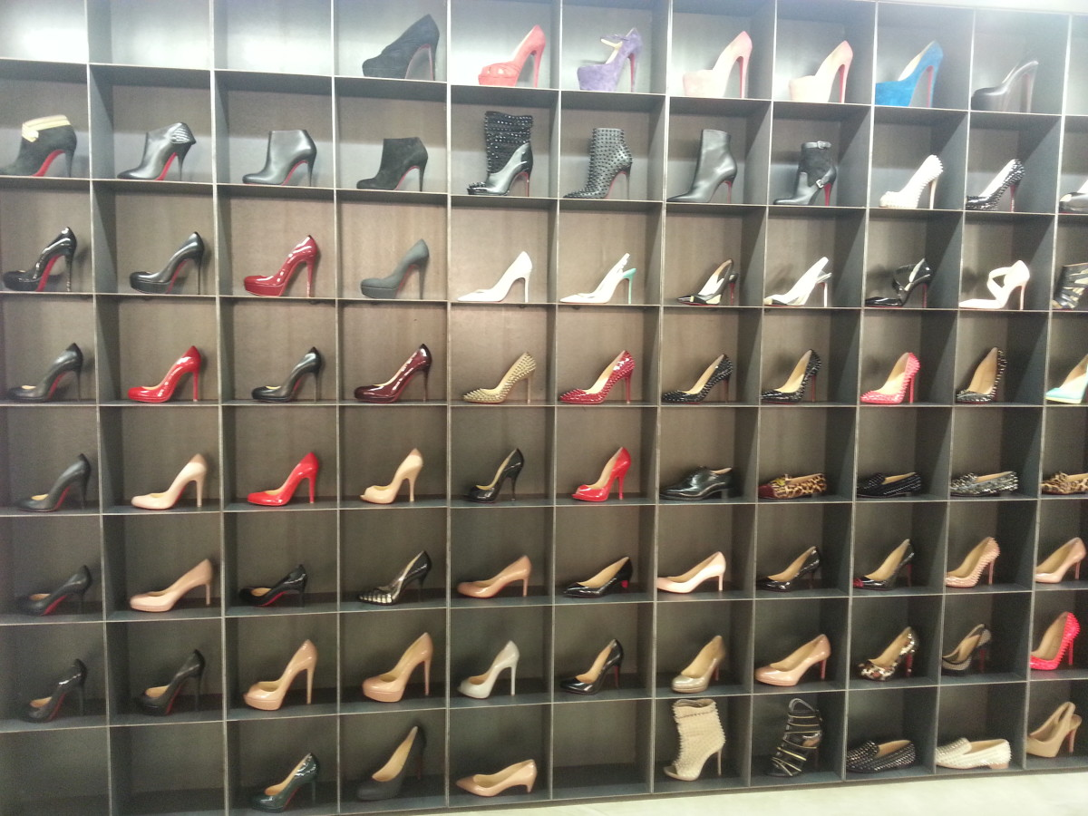 Wall of Louboutins in The Corner Berlin