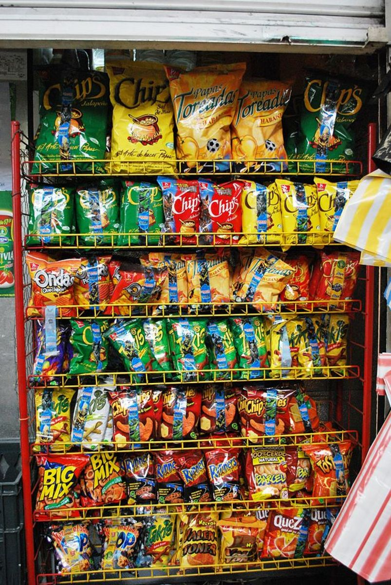 A rack full of processed carbohydrate food
