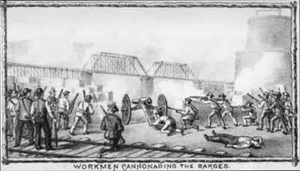 Strikers using cannon on the Pinkerton barges.