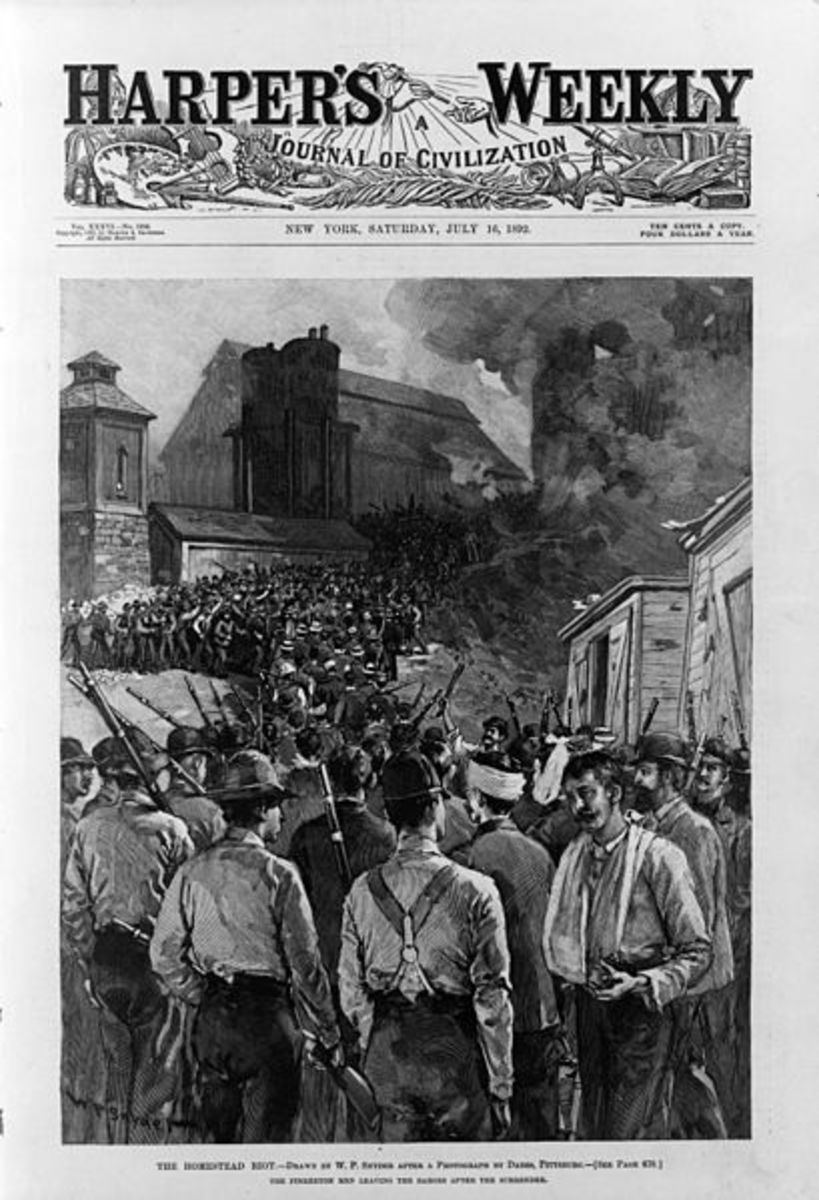 Harper's Weekly depicts the surrender of the Pinkertons at the Homestead Strike.