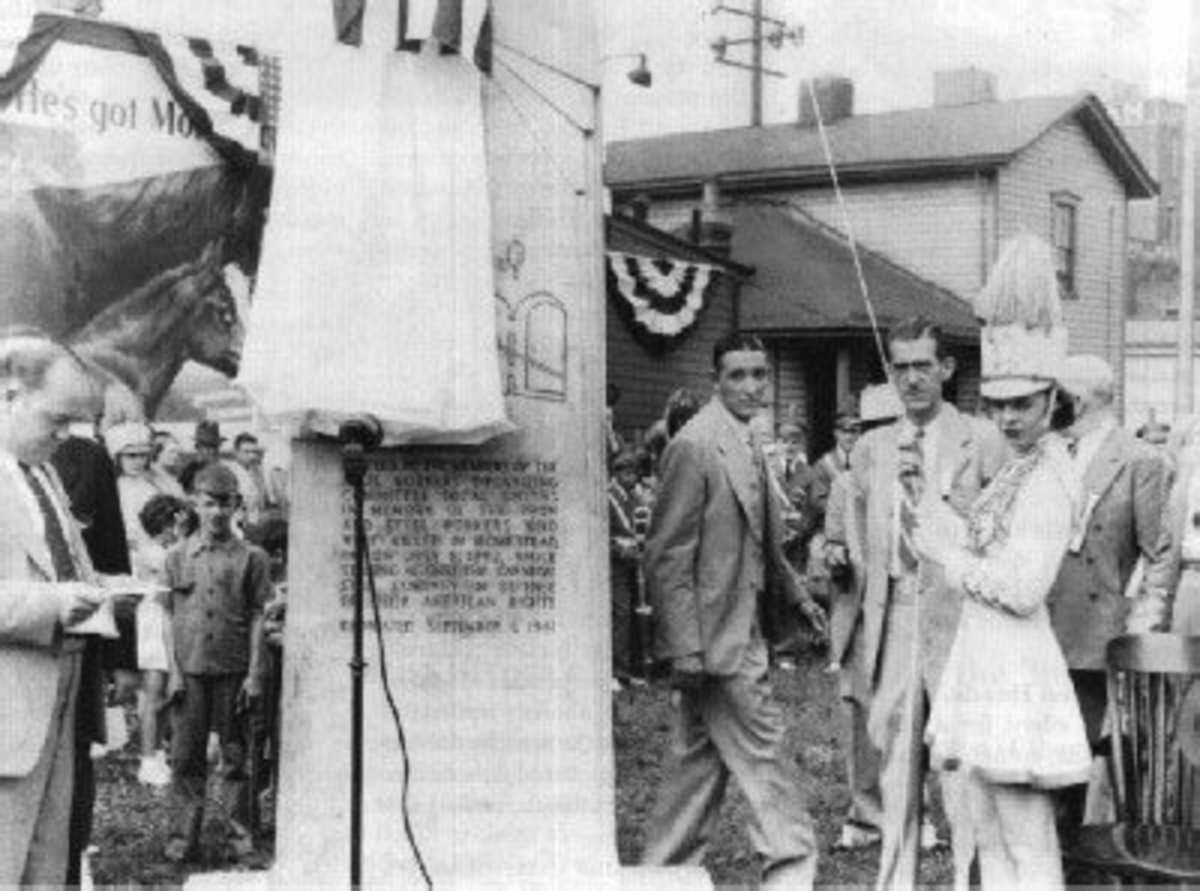 Opening of a monument for the workers killed at the Homestead Strike of 1892.