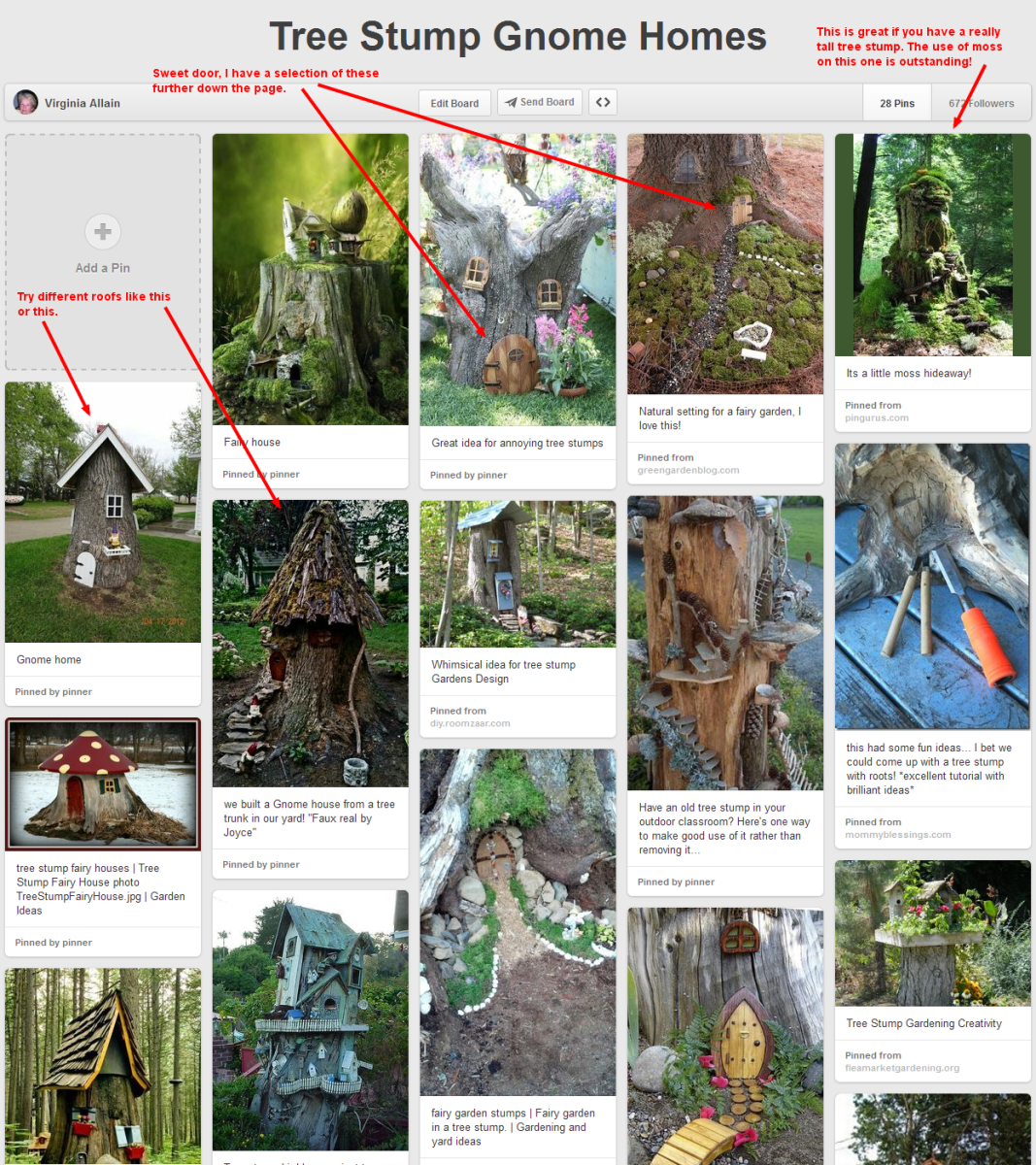 Pinterest Pinboard of tree trunk gnome or fairy houses