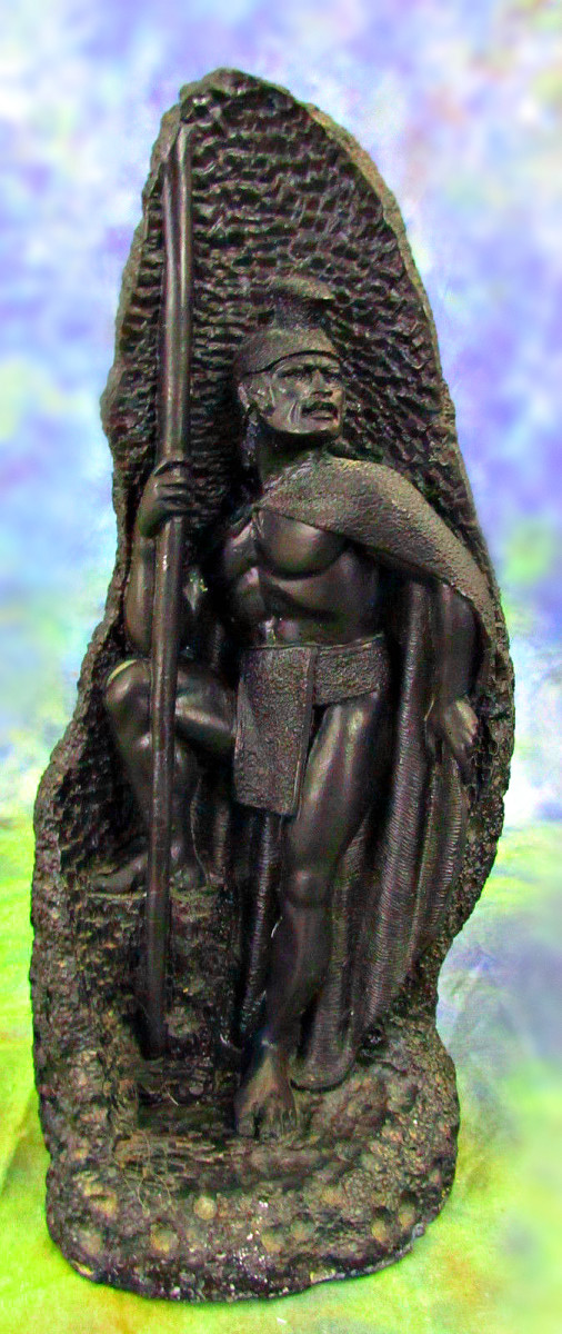 """Vintage 1960 Coco Joe's King Kamehameha 303 Lava Statue which is  very well made and detailed, and measures 10 1/2"""" tall and 4"""" diameter at base."""