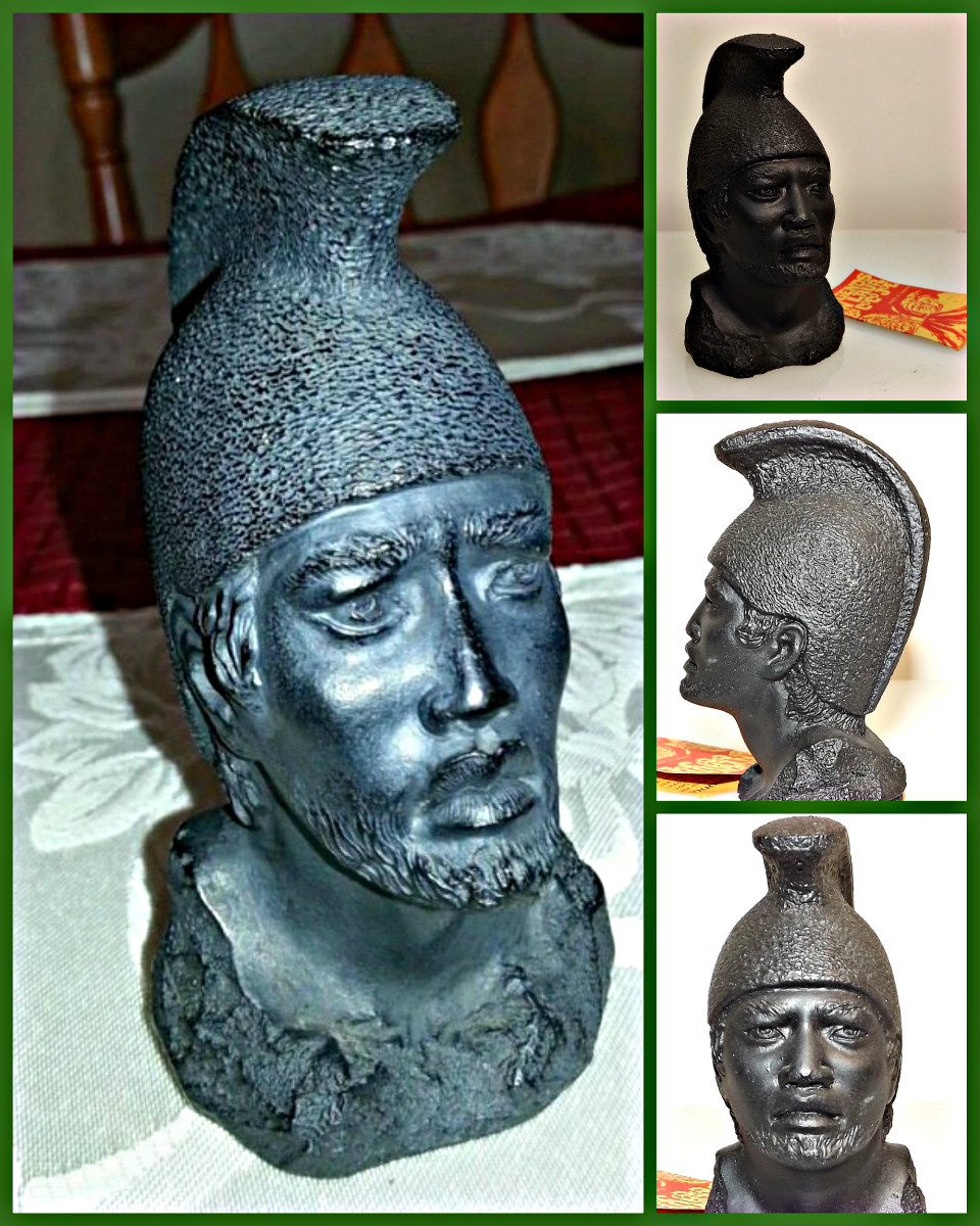 Coco Joe's Head Bust of King Kamehameha, or is sometimes called the bust of Koa Anonui. It measures  4 inches tall and 2.25 inches wide. Made of lava from Hawaii.