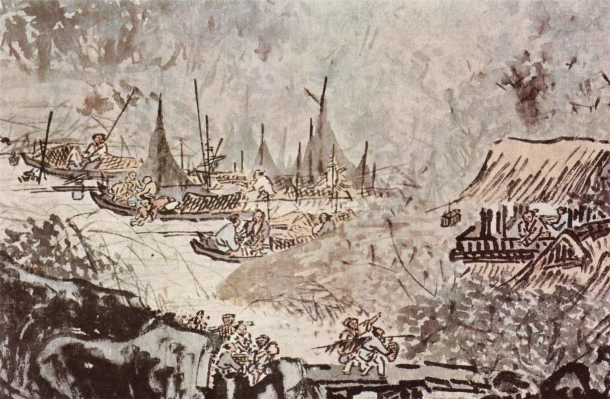 Public Domain - A glimpse into life in a Chinese fishing village during the Ming Dynasty (1368-1644). Painted by Wu Wei (1632-1718), this landscape painting was made with ink and color on paper.