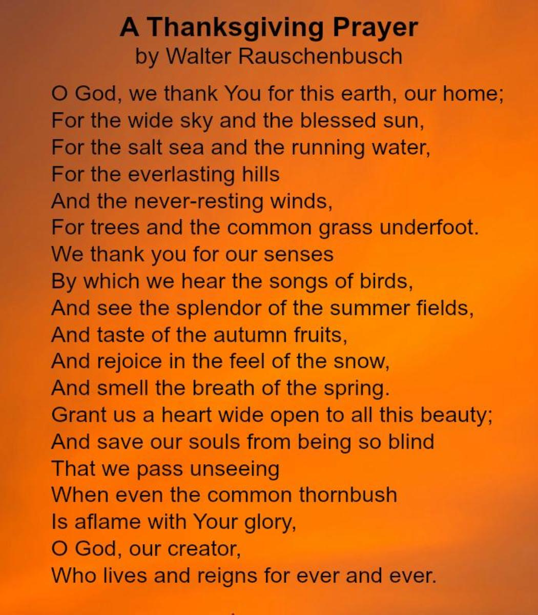 A Thanksgiving Prayer by Walter Rauschenbusch