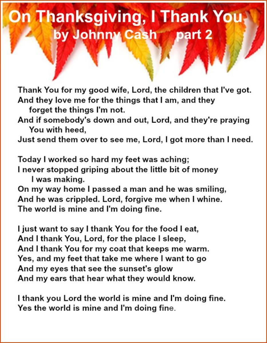 On Thanksgiving, I Thank You Lyrics by Johnny Cash – Part 2