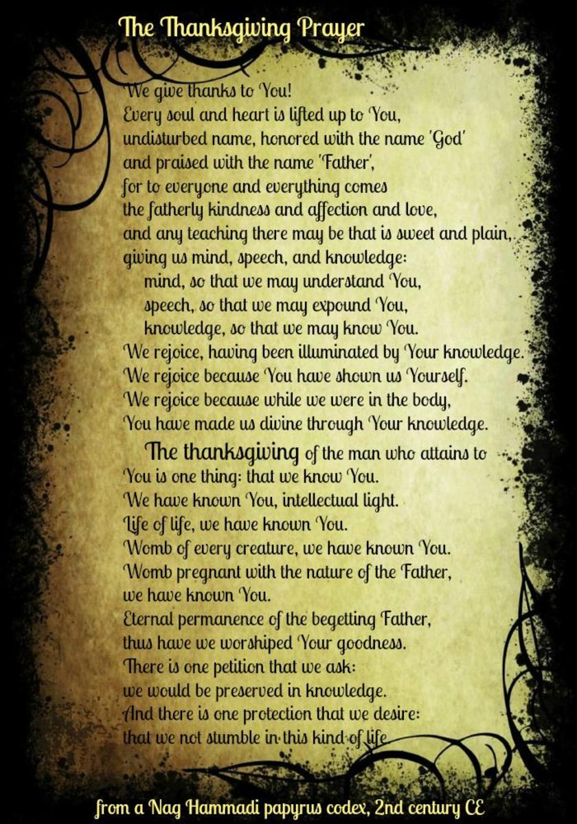 The Thanksgiving Prayer from Nag Hammadi Papyrus