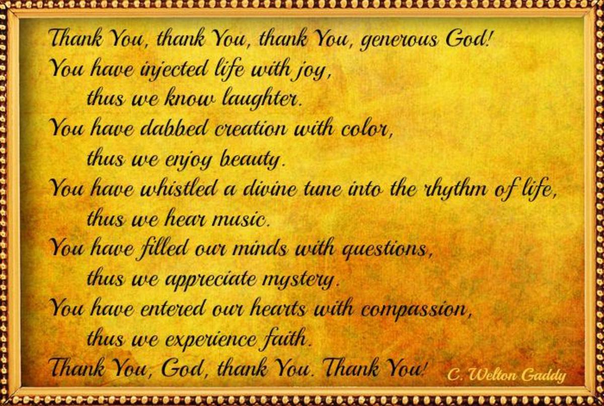 Short Thanksgiving Prayer by  C. Welton Gaddy