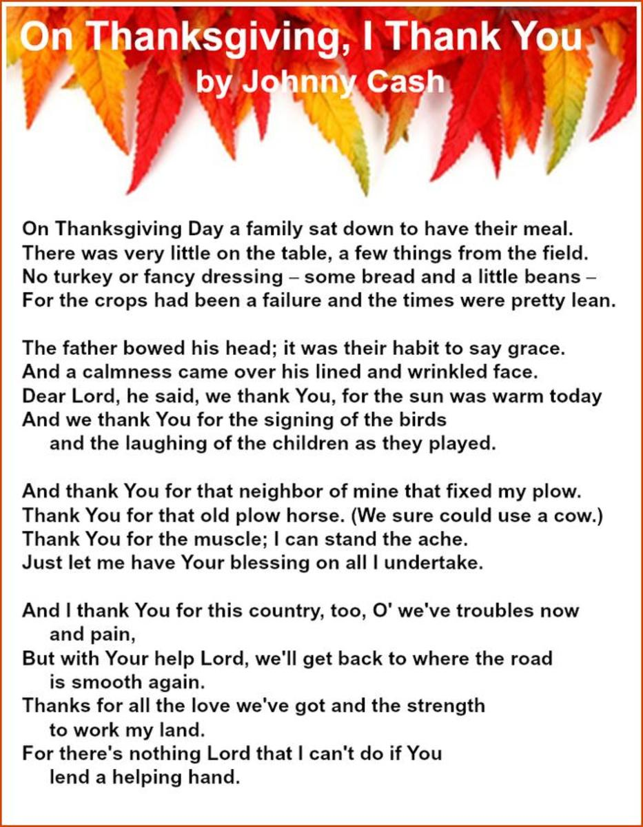 On Thanksgiving, I Thank You Lyrics by Johnny Cash