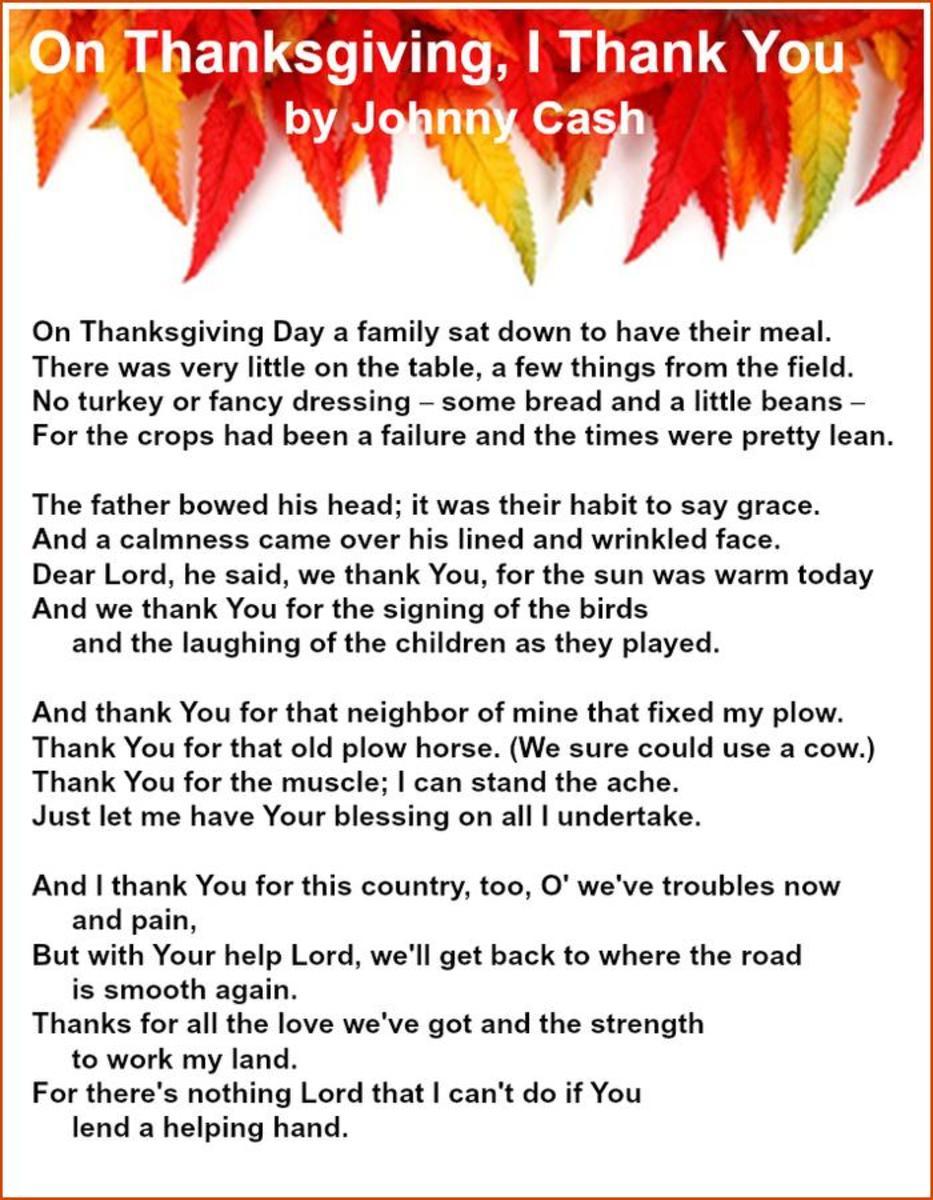 On Thanksgiving, I Thank You Lyrics by Johnny Cash