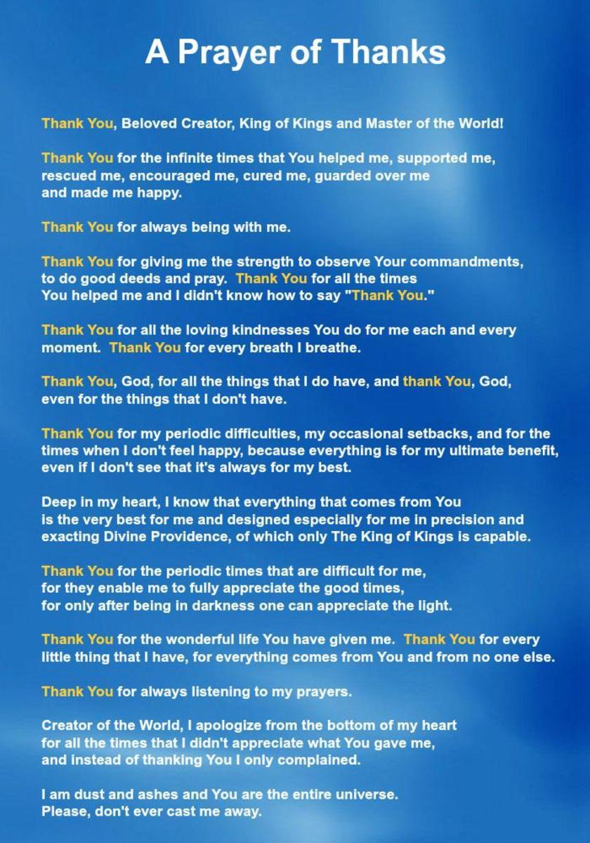 A Prayer of Thanks by Rabbi Alexander Diskin