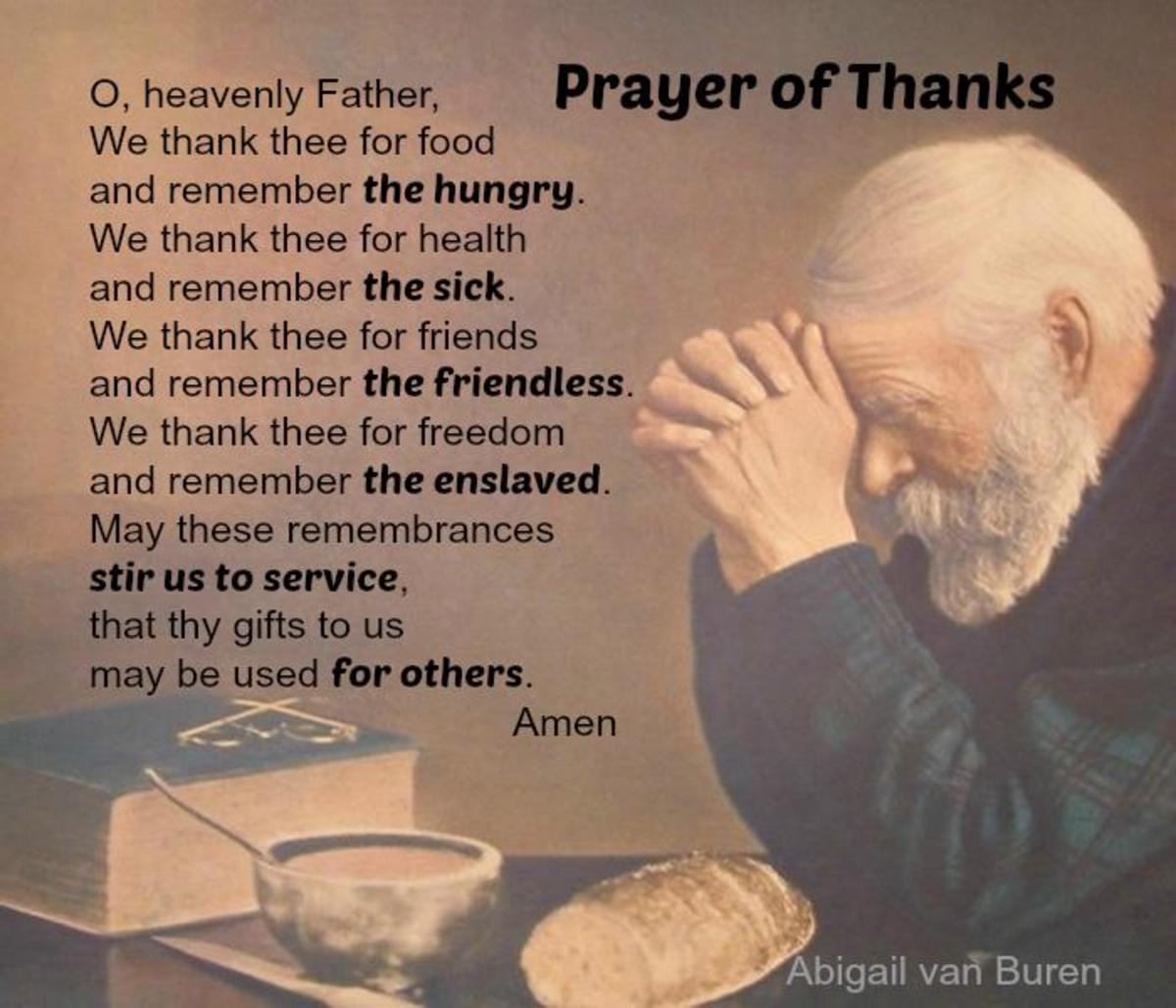 Prayer of Thanks by Abigail van Buren, the original Dear Abby