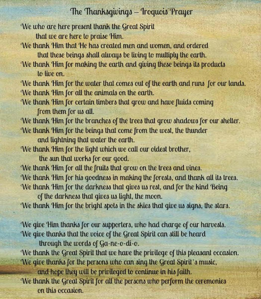 The Thanksgivings Iroquois Prayer