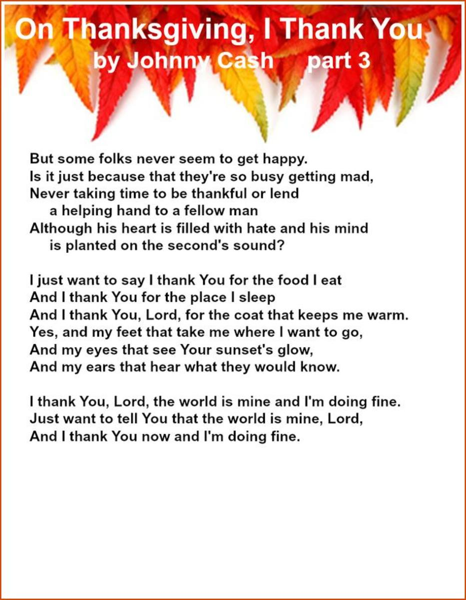 On Thanksgiving, I Thank You Lyrics by Johnny Cash – Part 3