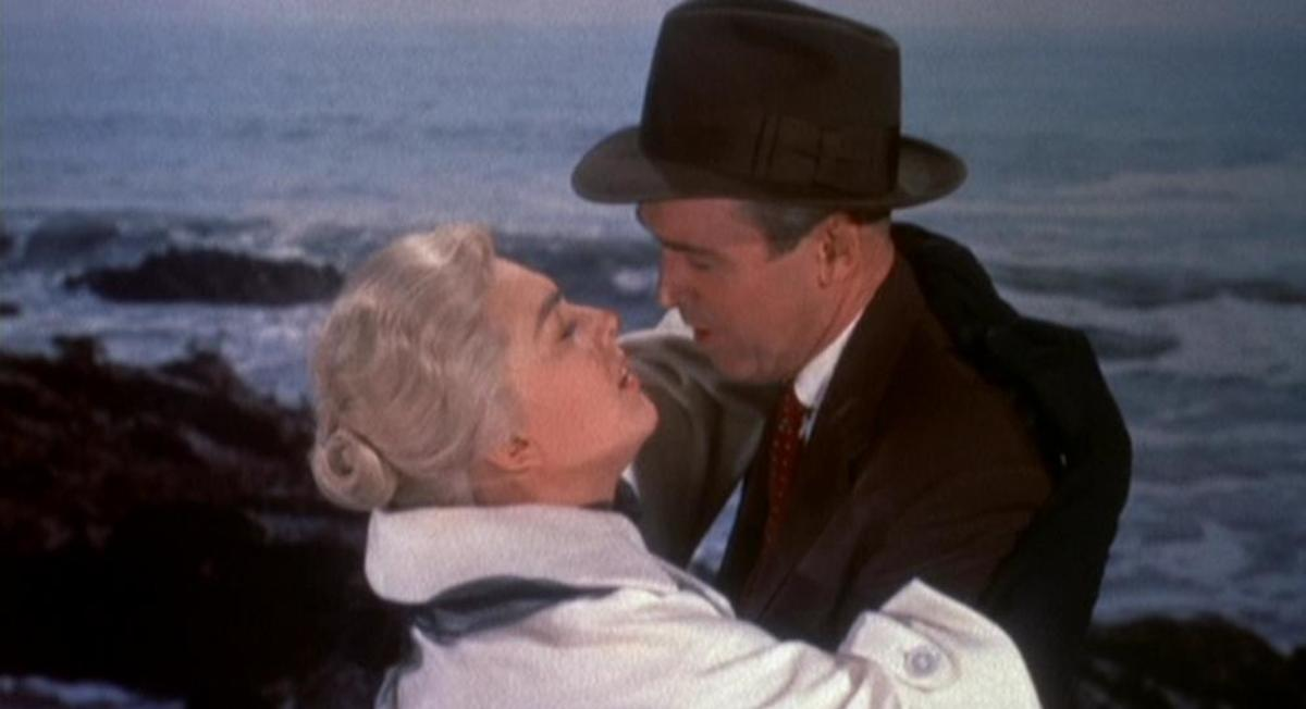 "Kim Novak and James Stewart star in Hitchcock's  ""Vertigo""."