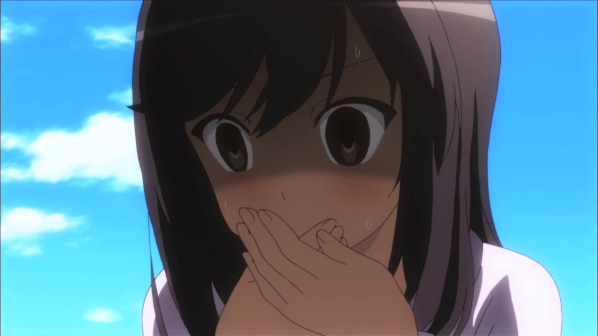 Yandere? No. But Hotaru will do anything for her senpai, as illustrated in this scene.