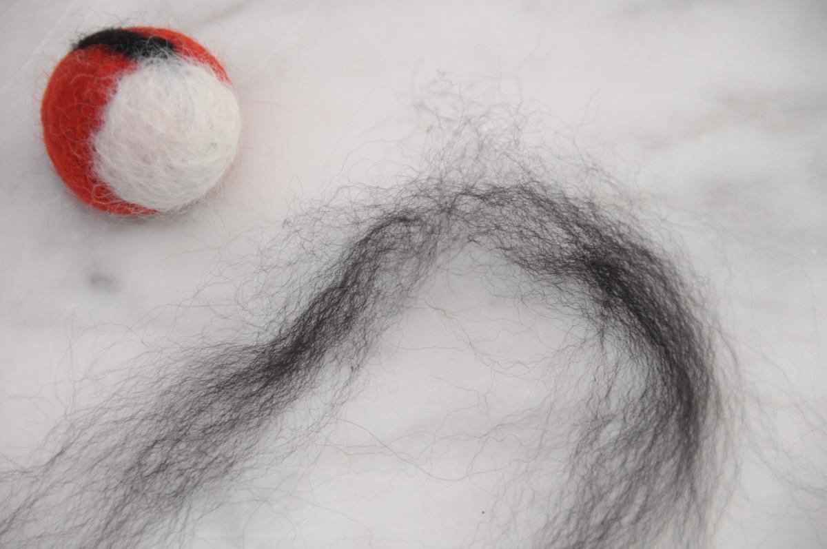Use fine slivers of wool roving to make eyes - use a single felting needle