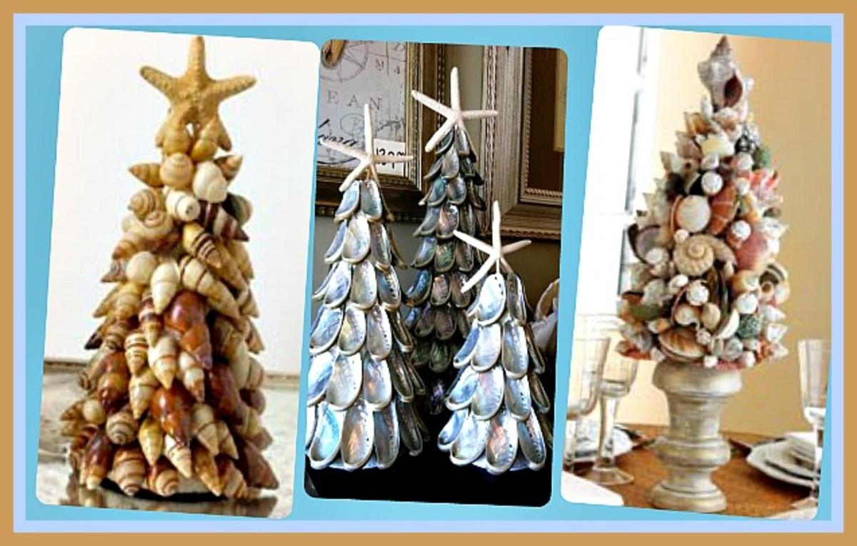 How to Make Seashell Christmas Tree Topiaries