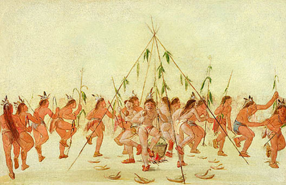 An early drawing of the Green Corn Dance.