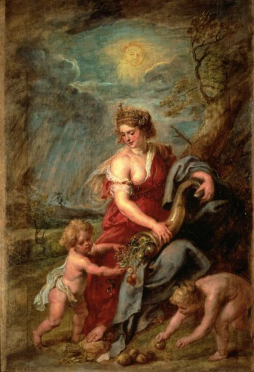 The Roman goddess Abundantia with a cornucopia, by Peter Paul Rubens circa 1630