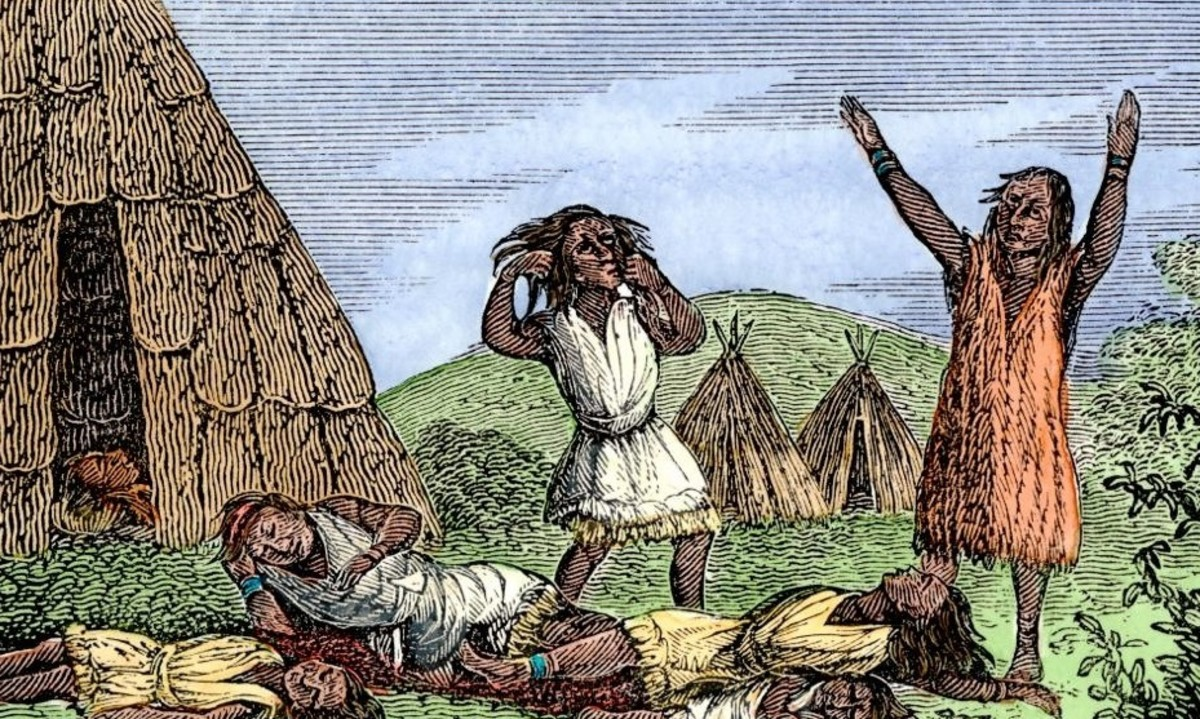 Depiction of plague among Native American people.