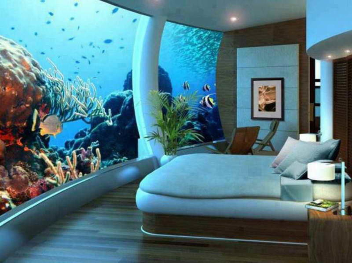 Although this is extreme, try incorporating small aquarium against a wall in front of your bed for a relaxing view each night.