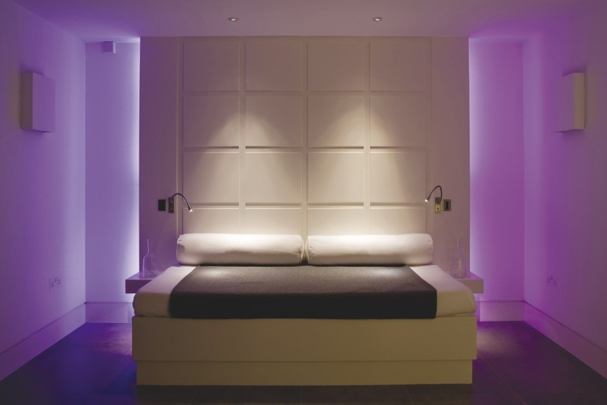 This is quite dramatic, however this is a prime example of subtle lighting. You can add reading lights to the wall if you like to read before falling asleep. Up lighting, down lighting and back lighting will give you these effects shown.