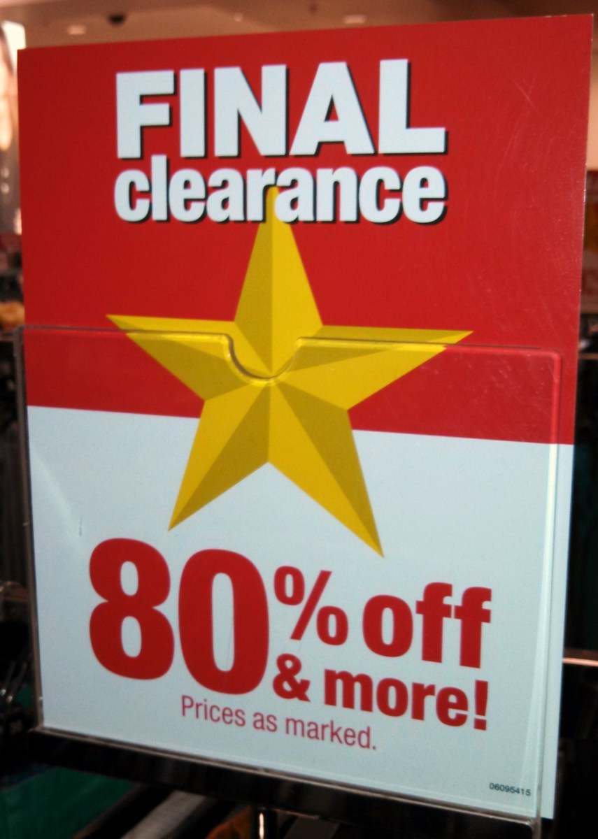 Clearance sales can help you be frugal and not a cheapskate!