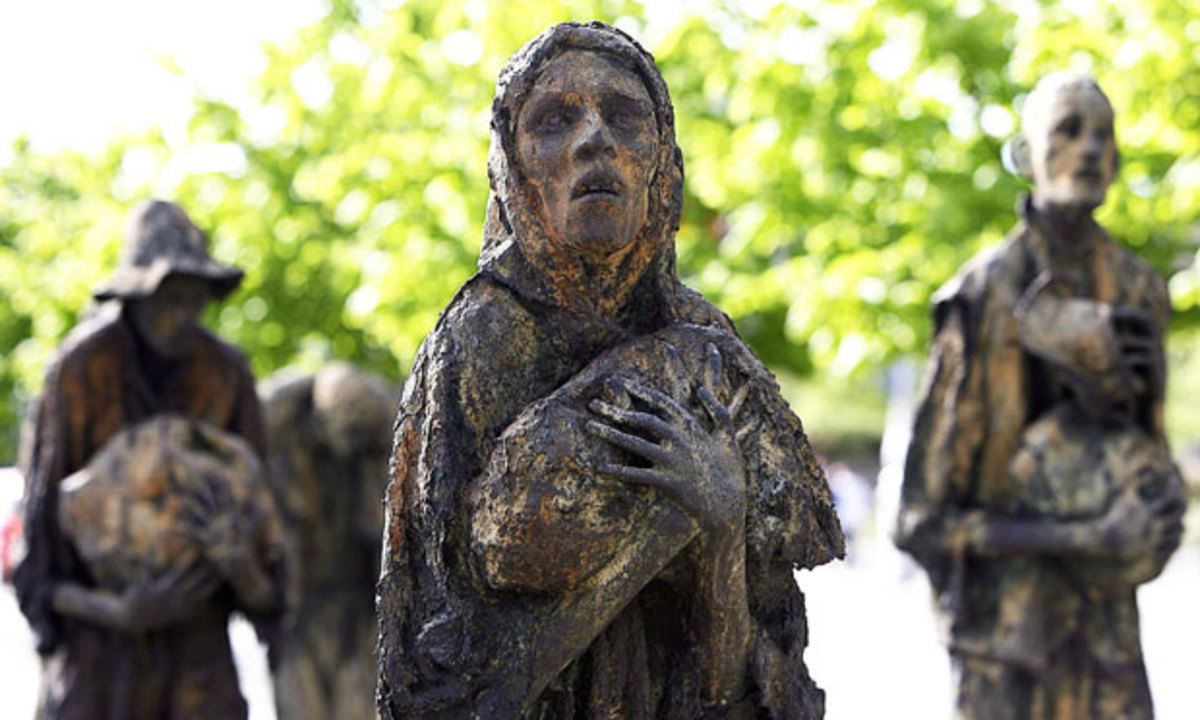 Irish Famine Memorial on the north quay in Dublin